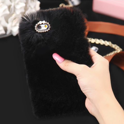 D'Luxe Fur Phone Case (Black) - CinderBloq Cases & Accessories