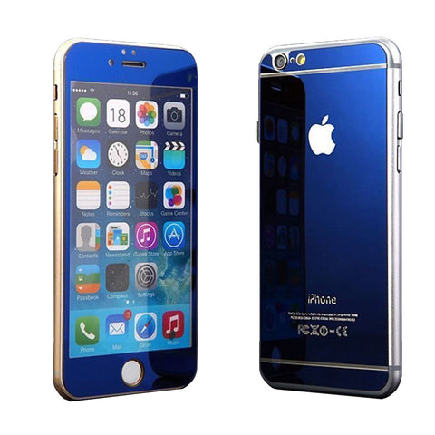 Tempered Glass Mirror Effect Chrome Screen Protector (Blue) - CinderBloq Cases & Accessories