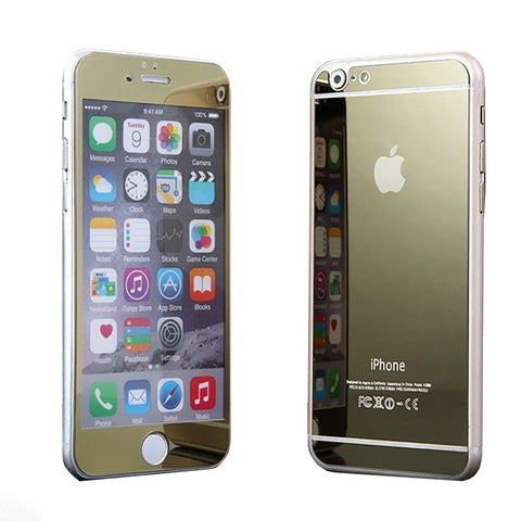 Tempered Glass Mirror Effect Chrome Screen Protector (Gold) - CinderBloq Cases & Accessories