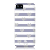 Brush Silver Striped Hearts Phone Case - iPhone 5/5s/5se - CinderBloq Cases & Accessories