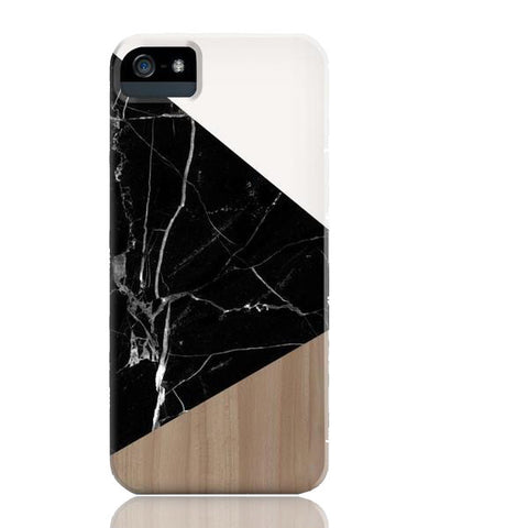 Wood & Black Marble Tangram Phone Case - iPhone 5/5s/5se - Cinderbloq Cases