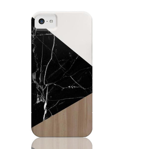 Wood & Black Marble Tangram Phone Case - iPhone 5c - Cinderbloq Cases