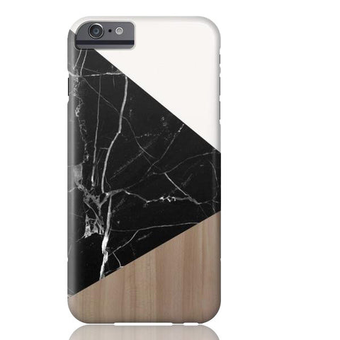 Wood & Black Marble Tangram Phone Case - iPhone 6/6s - Cinderbloq Cases