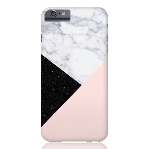 Pink Marble Black Glitter Phone Case - iPhone 6/6s