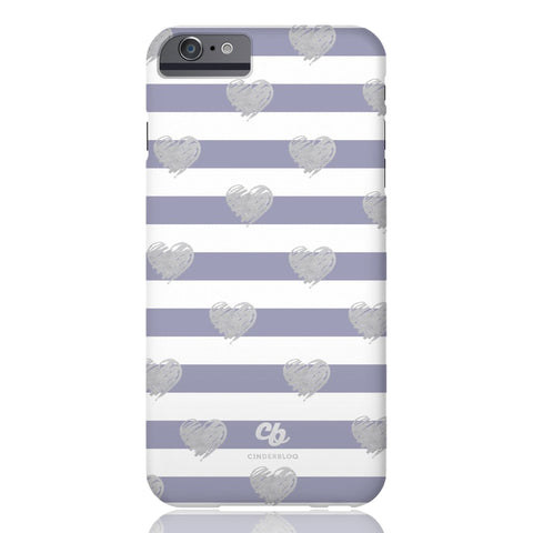 Brush Silver Striped Hearts Phone Case - iPhone 6/6s - CinderBloq Cases & Accessories