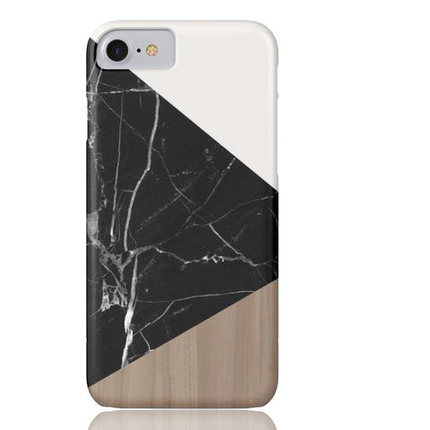 Wood & Black Marble Tangram Phone Case - iPhone 7 - Cinderbloq Cases