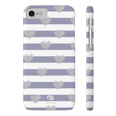 Brush Silver Striped Hearts Phone Case - iPhone 7, iPhone 8 - CinderBloq Cases & Accessories