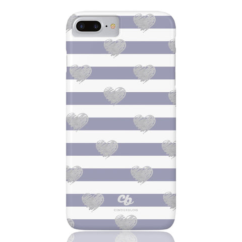 Brush Silver Striped Hearts Phone Case - iPhone 7 Plus / 8 Plus - CinderBloq Cases & Accessories