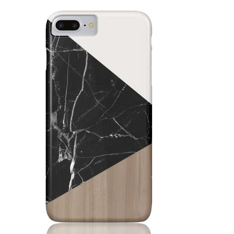 Wood & Black Marble Tangram Phone Case - iPhone 7 Plus - Cinderbloq Cases