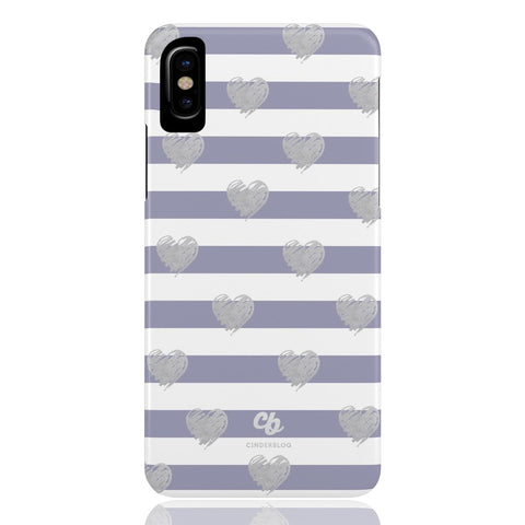 Brush Silver Striped Hearts Phone Case - CinderBloq Cases & Accessories