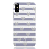 Brush Silver Striped Hearts Phone Case - iPhone X - CinderBloq Cases & Accessories