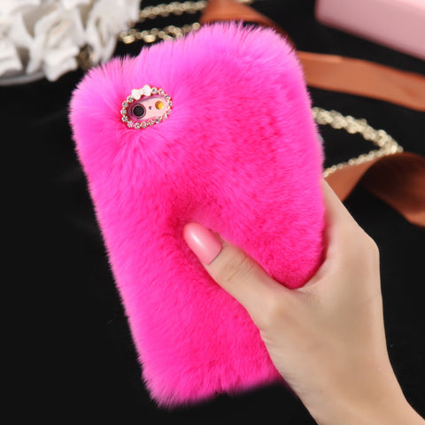 D'Luxe Fur Phone Case (Magenta) - iPhone 6 Plus / 6s Plus - Cinderbloq Cases & Accessories