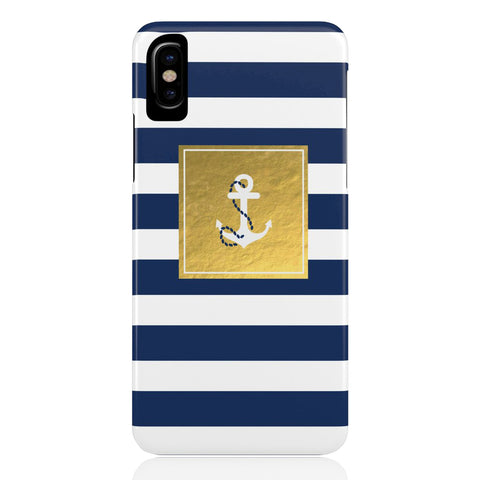 Golden Striped Anchor Phone Case