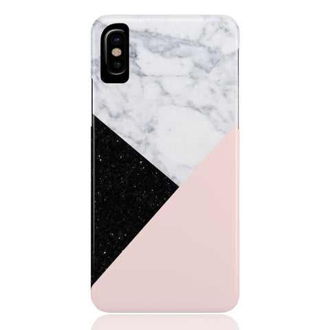 Pink Marble Black Glitter Phone Case
