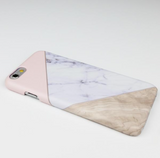 Matte Geometric Marble iPhone Case - Pastel Pink / Wood / Marble Print