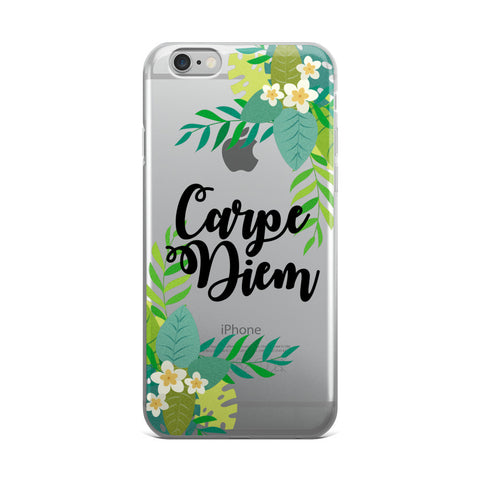 Carpe Diem Transparent TPU iPhone Case - iPhone 6 Plus / 6s Plus - Cinderbloq Cases & Accessories