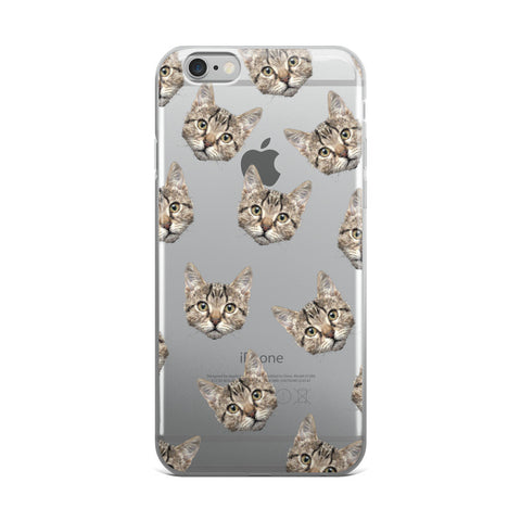 Cat Pattern Transparent iPhone Case - iPhone 6 Plus / 6s Plus - CinderBloq Cases & Accessories