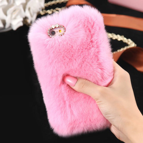 D'Luxe Fur Phone Case (Pink) - iPhone 5/5s/5se - Cinderbloq Cases & Accessories