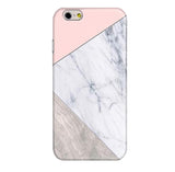 Matte Geometric Marble iPhone Case - Pastel Pink / Wood / Marble Print - Cinderbloq Cases & Accessories