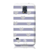 Brush Silver Striped Hearts Phone Case - Samsung Galaxy S5 - CinderBloq Cases & Accessories