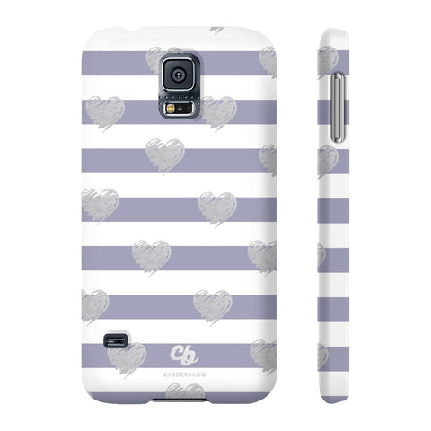 Brush Silver Striped Hearts Phone Case - Samsung Galaxy S5