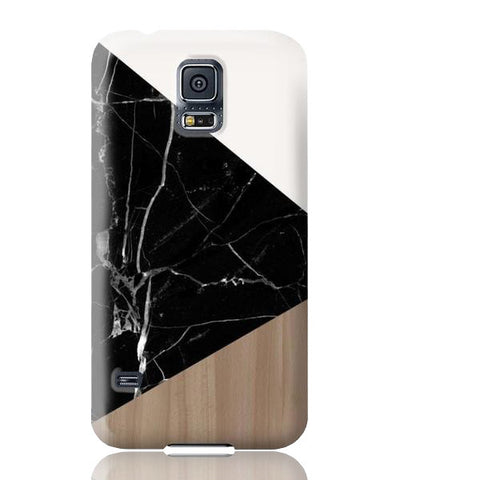 Wood & Black Marble Tangram Phone Case - Samsung Galaxy S5 - Cinderbloq Cases