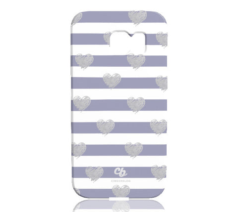 Brush Silver Striped Hearts Phone Case - Samsung Galaxy S6 Edge - CinderBloq Cases & Accessories