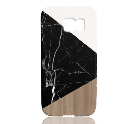 Wood & Black Marble Tangram Phone Case - Samsung Galaxy S6 Edge - Cinderbloq Cases & Accessories