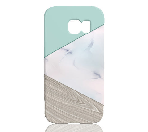 Mint Wood Marble Tangram Phone Case - Samsung Galaxy S6 Edge - Cinderbloq Cases
