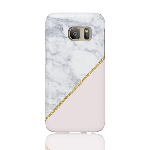 Pink Marble Gold Glitter Phone Case - Samsung Galaxy S7