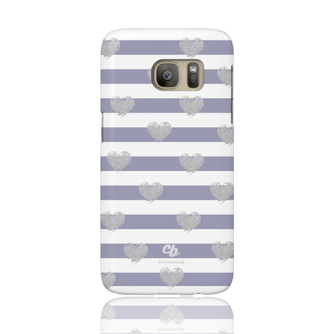 Brush Silver Striped Hearts Phone Case - Samsung Galaxy S7 - CinderBloq Cases & Accessories