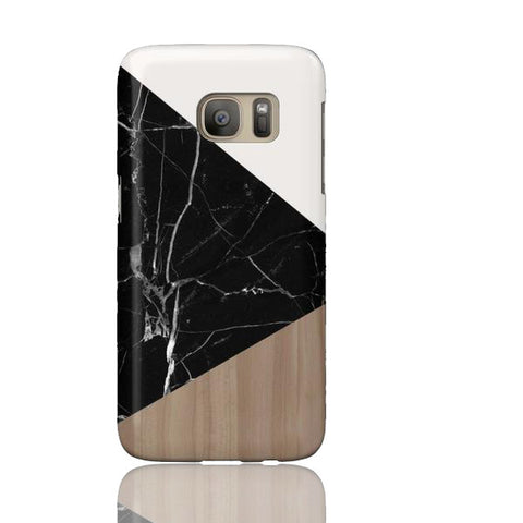 Wood & Black Marble Tangram Phone Case - Samsung Galaxy S7 - Cinderbloq Cases