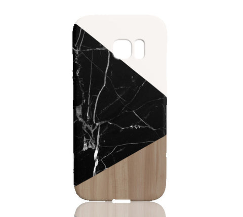 Wood & Black Marble Tangram Phone Case - Samsung Galaxy S7 Edge - Cinderbloq Cases & Accessories