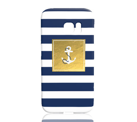 Golden Striped Anchor Phone Case - Samsung Galaxy S7 Edge - Cinderbloq Cases & Accessories