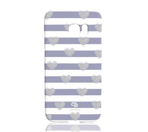 Brush Silver Striped Hearts Phone Case - Samsung Galaxy S7 Edge - Cinderbloq Cases & Accessories