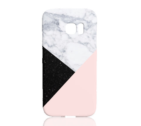 Pink Marble Black Glitter Phone Case - Samsung Galaxy S7 Edge - Cinderbloq Cases & Accessories