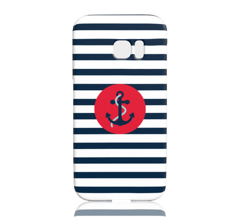 Striped Navy Anchor Phone Case - Samsung Galaxy S7 Edge - Cinderbloq Cases & Accessories