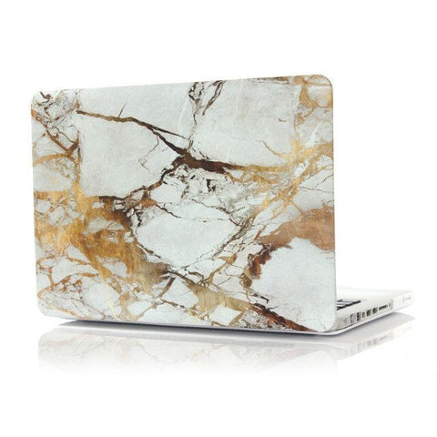 "White & Gold Marble Laptop Case for MacBook Pro NON-Retina Display (with CD-Rom) 13"" [A1278] (Gold Marble)"