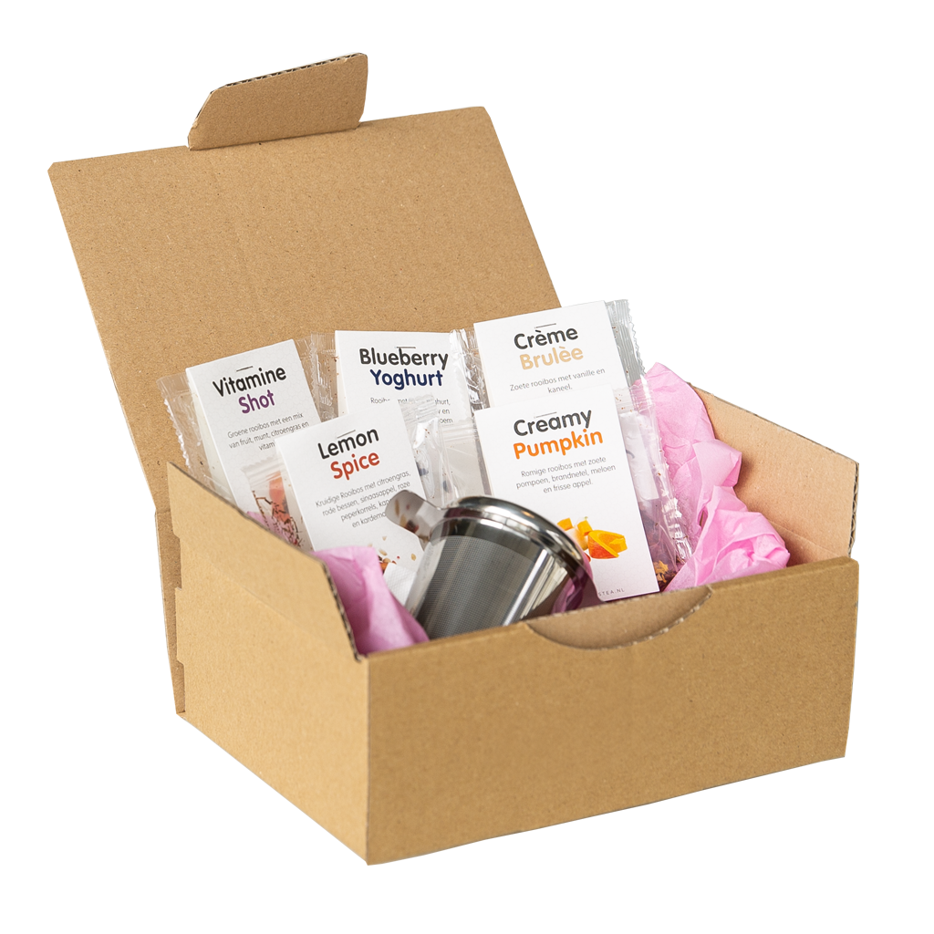 Sample box rooibos thee met zeefje