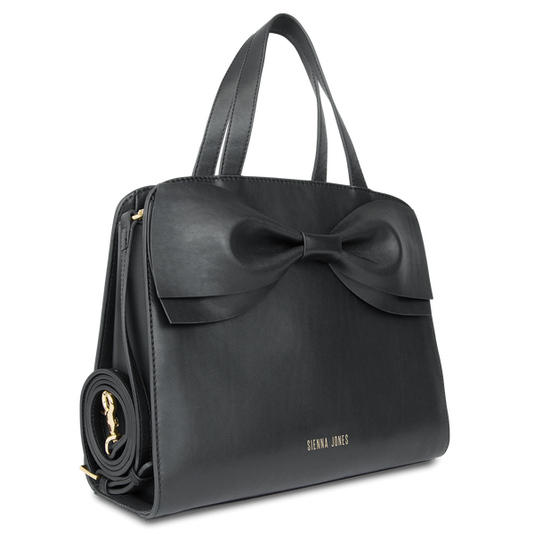 Sienna Jones Marina Bow Bag in Black - Detachable shoulder strap
