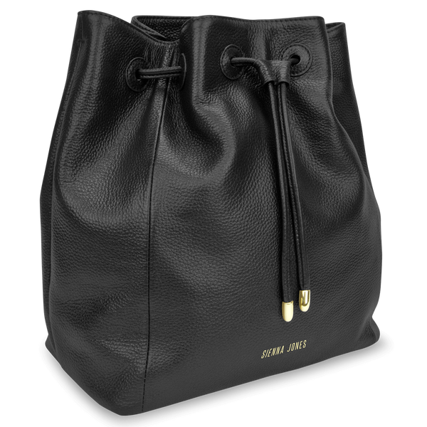 Sienna Jones Classic Bucket Bag in Black leather