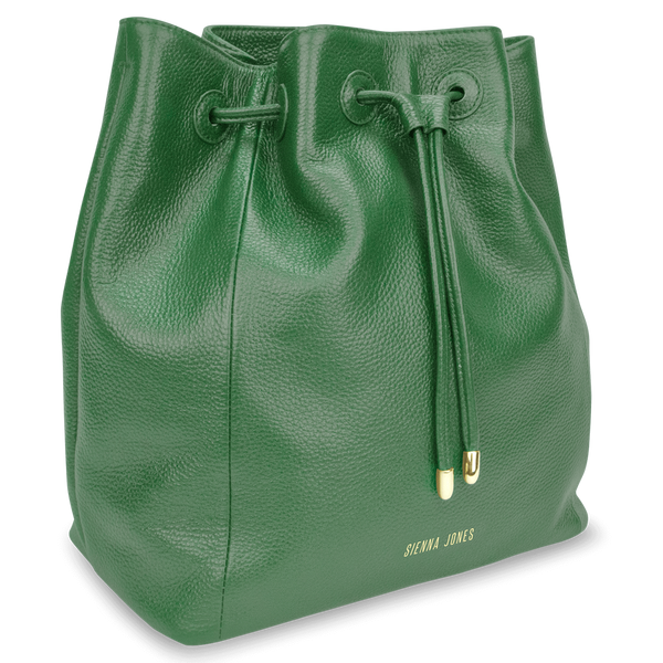 Sienna Jones Classic Bucket Bag in green leather