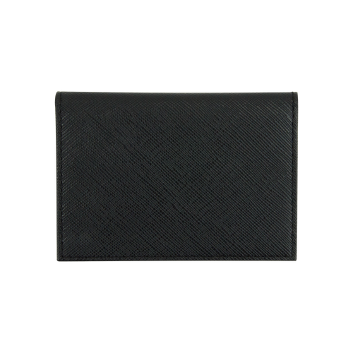 Sienna Jones card holder in textured black leather - Reverse
