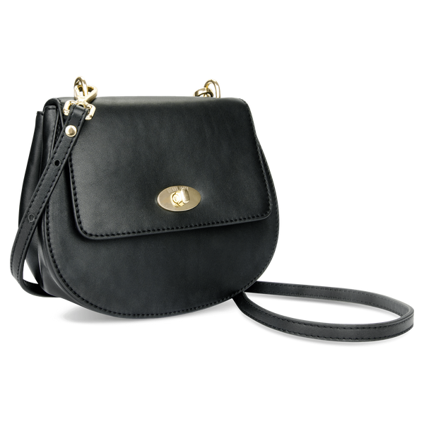 Sienna Jones Cross Body Bag in Black - Detachable Leather strap