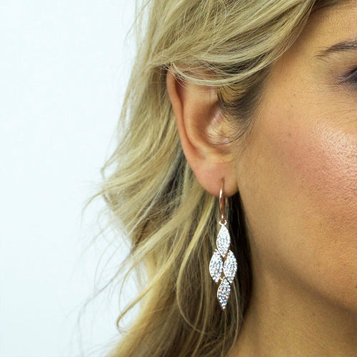 Stunning Long Pave Crystal Earrings