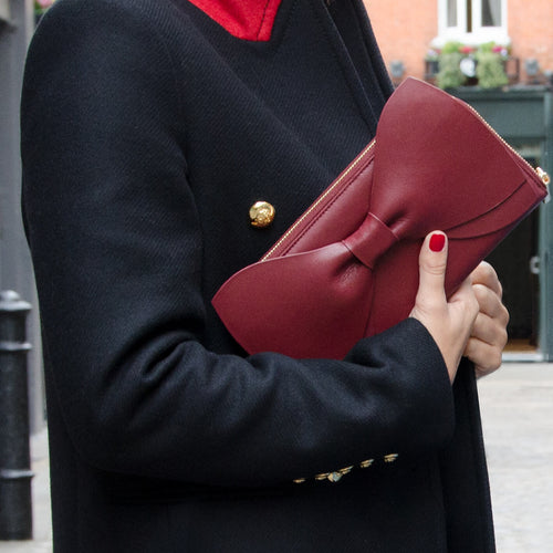The Leather Bow Clutch - Wine Red