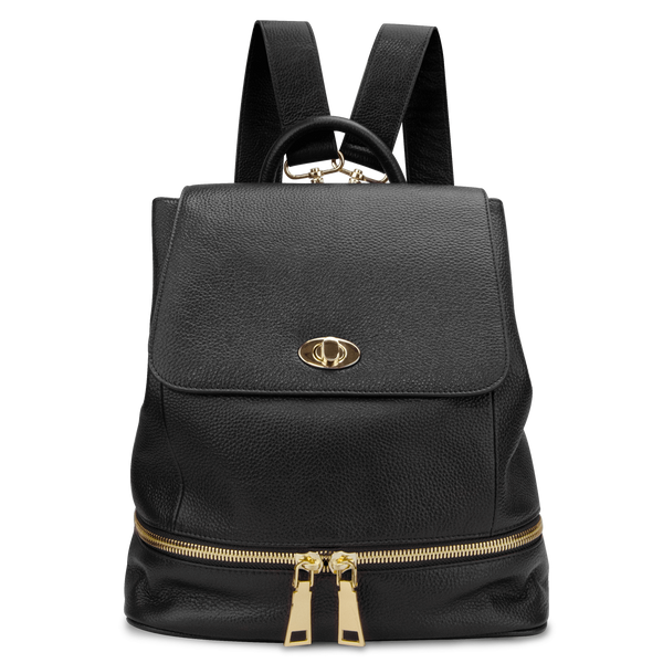 Sienna Jones Classic Backpack in black - Adjustable leather straps