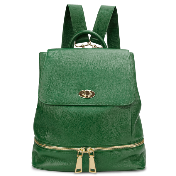 Sienna Jones Classic Backpack in green - Adjustable leather straps