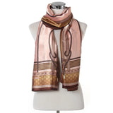 Equestrian Belt & Buckle Print Scarf - Light Pink