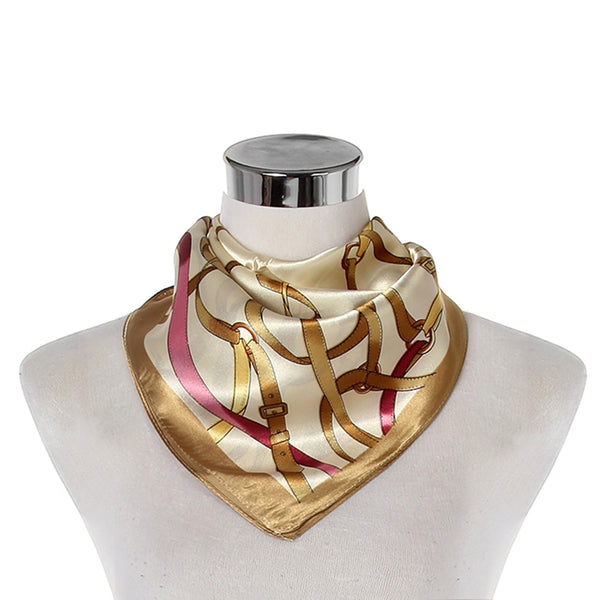 Belt & Buckle Print Square Scarf